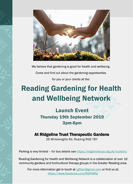 Reading Gardening for Health and Wellbeing Network Flyer Sept 2019